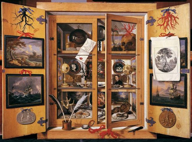 """""""Cabinet de curiositées"""" di Domenico Remps (1690), Opificio delle Pietre dure, Firenze"""