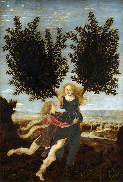 """Apollo e Dafne"" di Antonio del Pollaiuolo, 1470-80, © The National Gallery London"