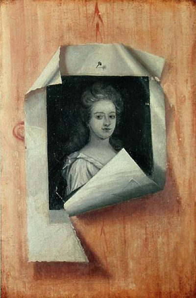 Trompe l'Oeil Portrait of a Lady (oil on canvas) by Colyer or Collier, Edwaert (c.1640-c.1702) oil on canvas 64.5x33 Museum of Finnish Art, Ateneum, Helsinki, Finland Dutch, out of copyright