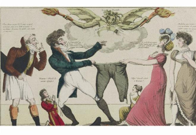 """Anonimo, """"Grande querelle entre le mari et l'épouse a qui portera la culotte et commandera le ménage"""", incisione in rame colorata, Paris, 1810 ca."""