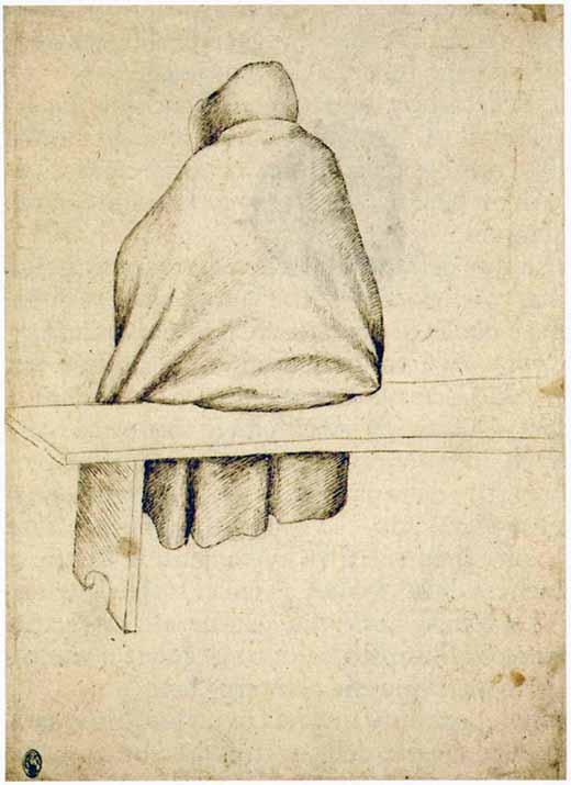 """Antonio Pisanello, """"Monaco seduto su una panca"""", Codex Vallardi 2332, XV secolo"""