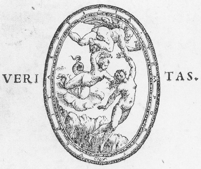 "P. Aretino, ""Emblema di Veritas"", frontespizio di Adriaen Willaert, Cinque Messe, presso Francesco Marcolini, Venezia 1536"