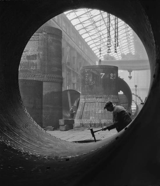 "E.O. Hoppé, ""Rotary Kilns under construction in the boiler shop"", Vickers Armstrong Steel Foundry, Tyneside, 1928 England"