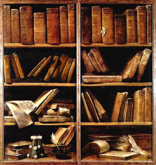 """Giuseppe Maria Crespi, """"Due scaffali con libri di musica"""", 1725-1730, Bologna, Museo della Musica"""