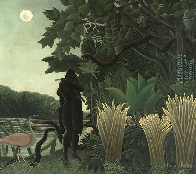 """H. Rousseau, """"L'incatatrice di serpenti"""", Parigi, Museé d'Orsay, 1907"""