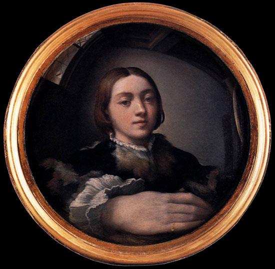 """Parmigianino, """"Autoritratto in uno specchio convesso"""", 1524 circa, Vienna Kunsthistorisches Museum"""