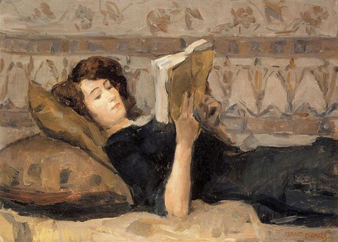 "Isaac Israel, ""Girl reading on a sofa"", 1920"