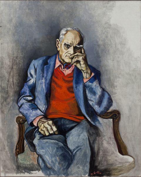 """Renato Guttuso, """"Ritratto di Alberto Moravia"""", Roma Casa Museo di Moravia"""
